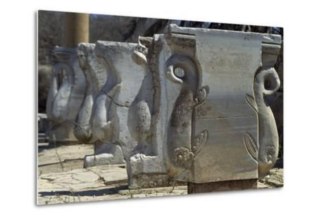 Old Supports for Market Stalls with Depictions of Griffins, Roman City of Leptis Magna--Metal Print