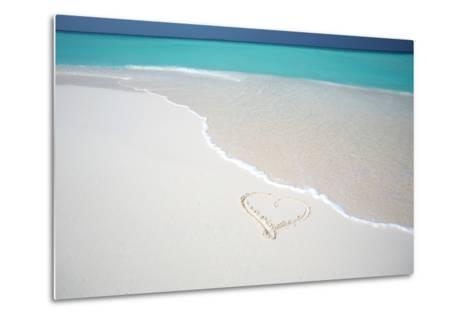 Heart Drawn on an Empty Tropical Beach, Maldives, Indian Ocean, Asia-Sakis-Metal Print
