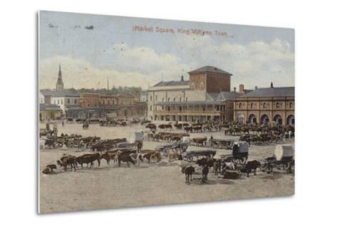 Postcard Depicting Cattle and Other Livestock in the Market Square--Metal Print