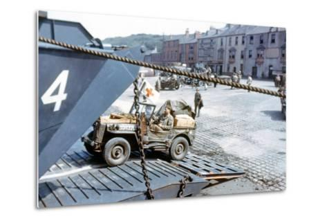 A United States Army Ambulance Jeep Boarding a Landing Craft Transport--Metal Print