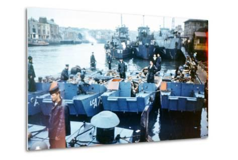 Boats and Ships Waiting in a Port at Weymouth, Southern England, June 1944--Metal Print
