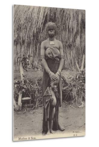 Postcard Depicting a Mother and Son in Tribal Dress--Metal Print