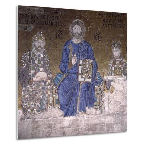Mosaic Depicting Christ on Throne with Empress Zoe and Right to Her Third Husband--Metal Print