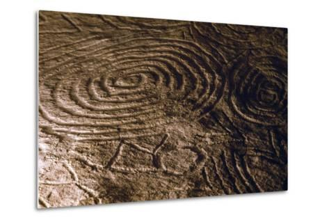 Detail of the Engravings in the Central Chamber of Newgrange Stone Age Passage Tomb--Metal Print