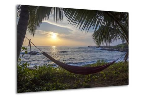 Silhoutte of an Empty Beach Hammock at the Beach, Tangalle, Sri Lanka, Asia- Charlie-Metal Print