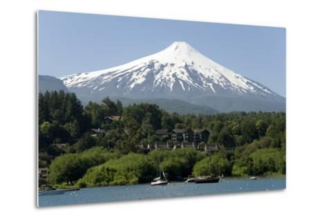 Volcan Villarrica and Lao Villarrica at Pucon, Lakes District, Southern Chile, South America-Tony-Metal Print