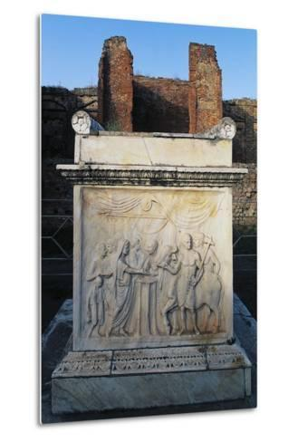Temple of Vespasian and its Marble Altar in Front of Aedicola, Pompeii--Metal Print