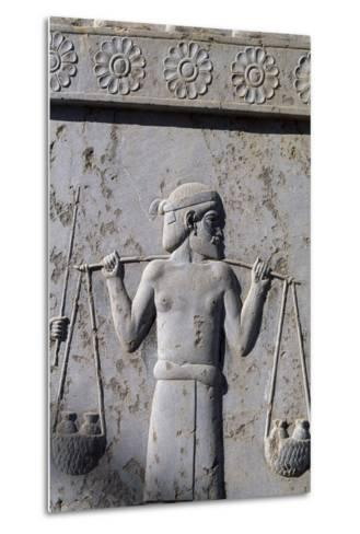 Bas-Relief with Indian Carrying Tributes, East Staircase, Apadana, Persepolis--Metal Print