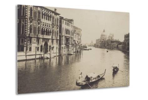 Postcard Depicting Gondolas on the Grand Canal in Venice--Metal Print