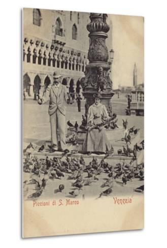 Postcard Depicting a Man and Woman Feeding Pigeons in Piazza San Marco--Metal Print
