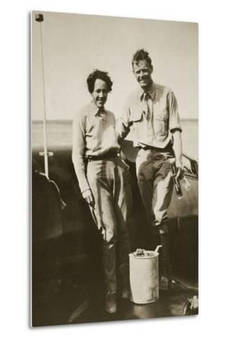 Charles and Ann Lindbergh after their Flight to Japan, 1931--Metal Print