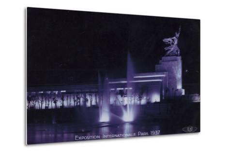 Soviet Pavilion at Night, Exposition Internationale, Paris, 1937--Metal Print