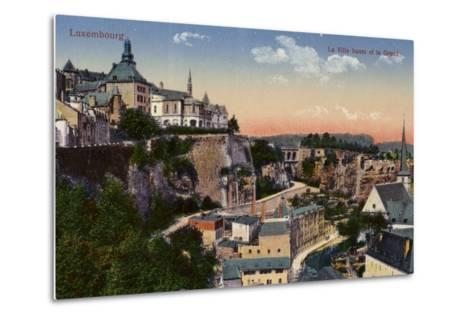 Postcard Depicting a General View of the City of Luxembourg--Metal Print
