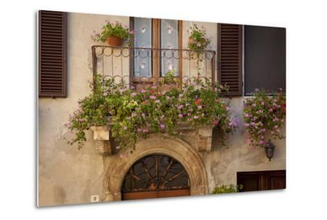 Flowers on Home in Piezna, Tuscany, Italy-Brian Jannsen-Metal Print