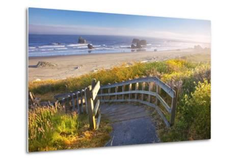 Morning Light Adds Beauty to Wildflowers and Fog Covered Rock Formations at Bandon State Park-Craig Tuttle-Metal Print