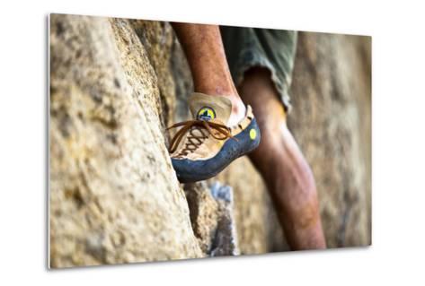 A Man's Climbing Shoe in Low Depth of Field at Granite Point in Eastern Washington-Ben Herndon-Metal Print