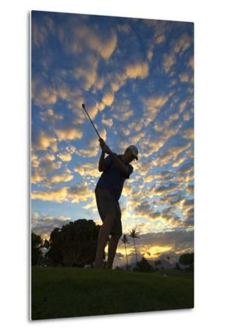 Silhouette of Golfer at Sunset, Maui, Hawaii-Ron Dahlquist-Metal Print