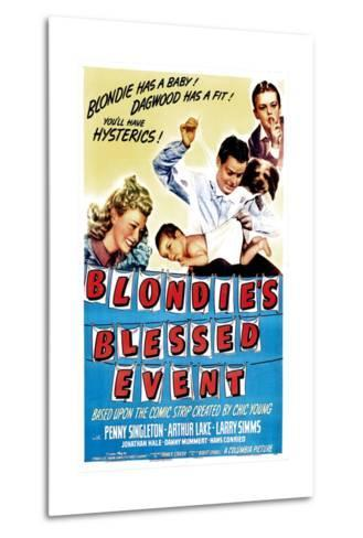 Blondie's Blessed Event, Penny Singleton, Arthur Lake, Daisy, Larry Simms, 1942--Metal Print