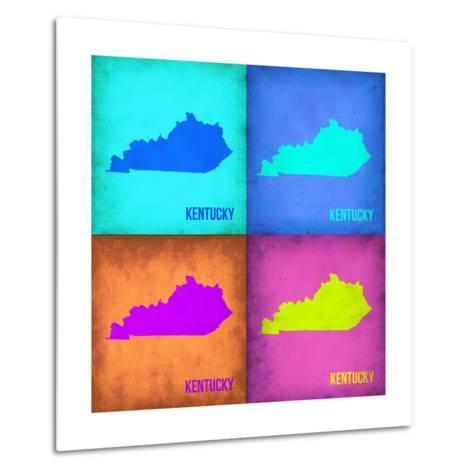 Kentucky Pop Art Map 1-NaxArt-Metal Print