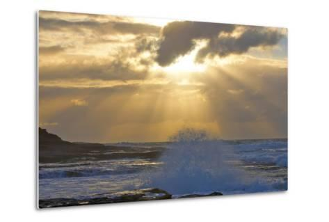Sunbeams over the Indian Ocean, Kalbarri, Western Australia-Timothy Herpel-Metal Print