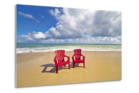 Beach Chairs Beckon on Baldwin Beach on the North Shore of Maui, Hawaii-Ron Dahlquist-Metal Print