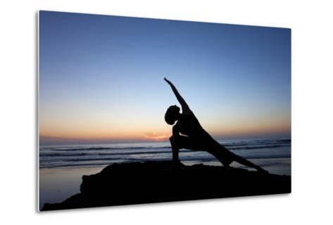 A Young Woman Performs Yoga at Blacks Beach in San Diego, California-Brett Holman-Metal Print