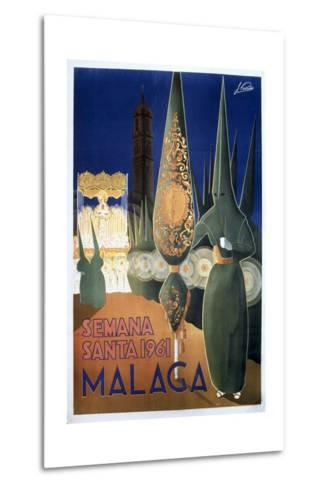 Travel Poster of the Holy Week in Malaga (1961)--Metal Print