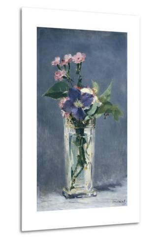 Clematis in a Crystal Vase-Edouard Manet-Metal Print