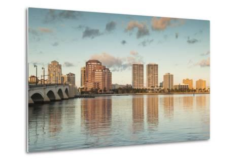 USA, Florida, West Palm Beach, City View with Royal Park Bridge, Dawn-Walter Bibikow-Metal Print