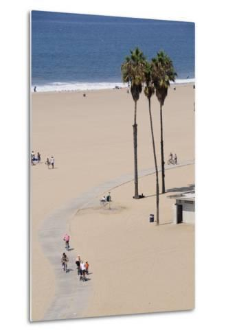 People Cycling the South Bay Cycle Route in the Town of Santa Monica Near Los Angeles--Metal Print