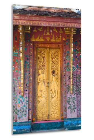 Elaborate Gilded Temple Door and Glass Mosaic on Exterior Wall--Metal Print
