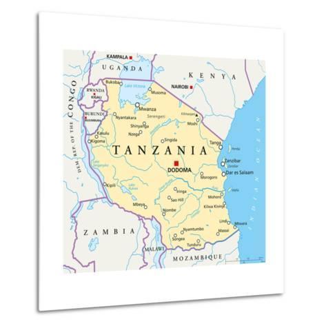 Tanzania Political Map-Peter Hermes Furian-Metal Print