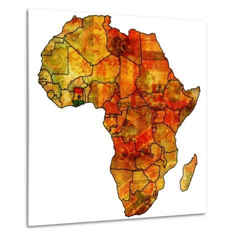 Ghana on Actual Map of Africa-michal812-Metal Print