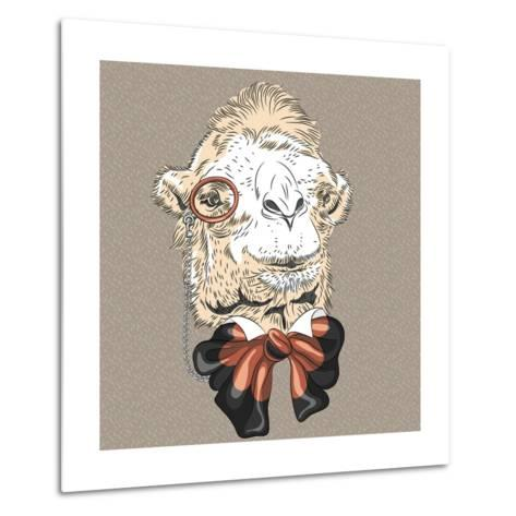 Vector Closeup Portrait of Funny Camel Hipster-kavalenkava volha-Metal Print
