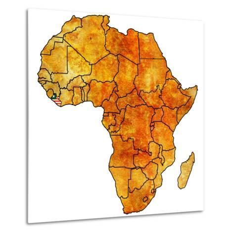 Liberia on Actual Map of Africa-michal812-Metal Print
