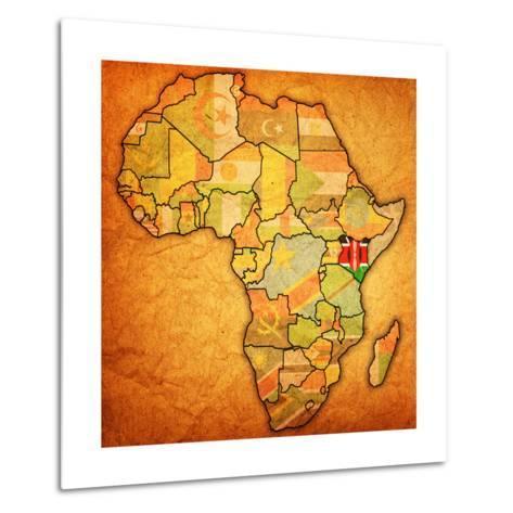 Kenya on Actual Map of Africa-michal812-Metal Print