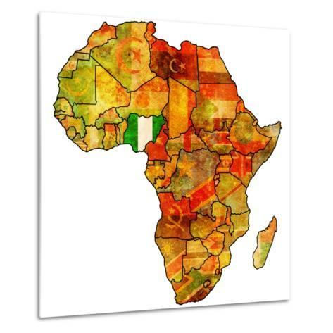 Nigeria on Actual Map of Africa-michal812-Metal Print