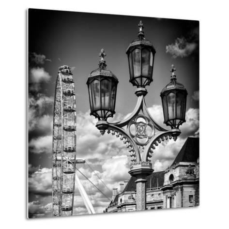 Royal Lamppost UK and London Eye - Millennium Wheel - London - UK - England - United Kingdom-Philippe Hugonnard-Metal Print