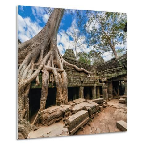 Ancient Khmer Architecture. Ta Prohm Temple with Giant Banyan Tree at Angkor Wat Complex, Siem Reap-Im Perfect Lazybones-Metal Print