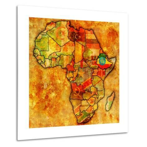 Ethiopia on Actual Map of Africa-michal812-Metal Print