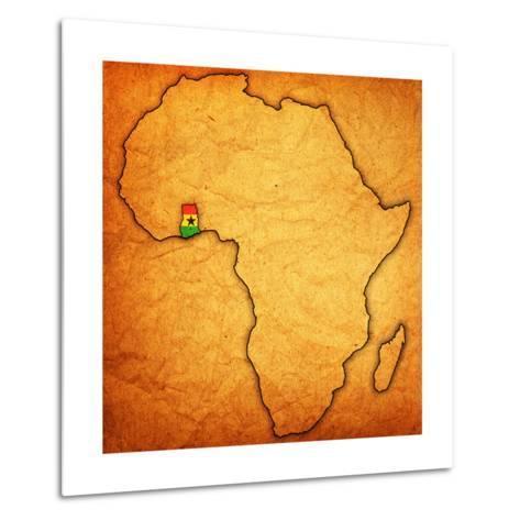 Ghana on Actual Map of Africa-michal812-Metal Print