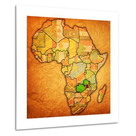 Zambia on Actual Map of Africa-michal812-Metal Print
