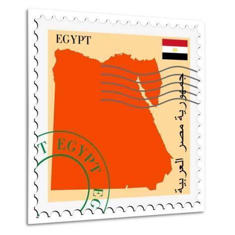 Stamp with Map and Flag of Egypt-Perysty-Metal Print