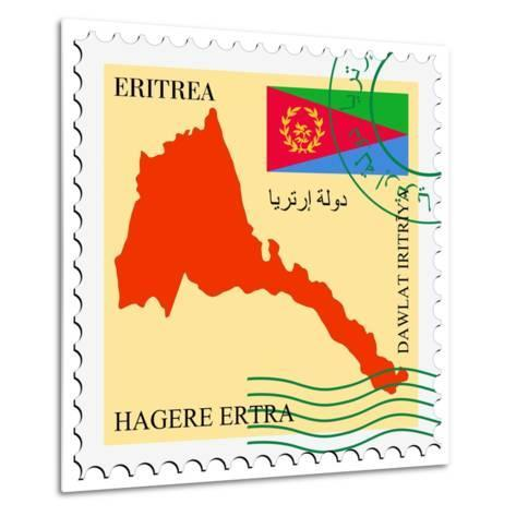 Stamp with Map and Flag of Eritrea-Perysty-Metal Print