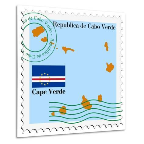 Stamp with Map and Flag of Cape Verde-Perysty-Metal Print