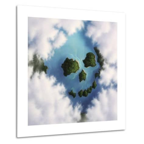 Islands Framed by Clouds Forming a Skull--Metal Print