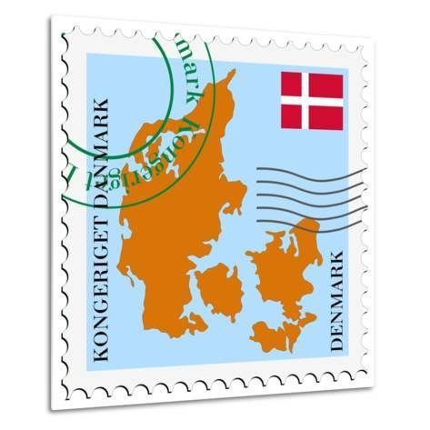 Stamp with Map and Flag of Denmark-Perysty-Metal Print
