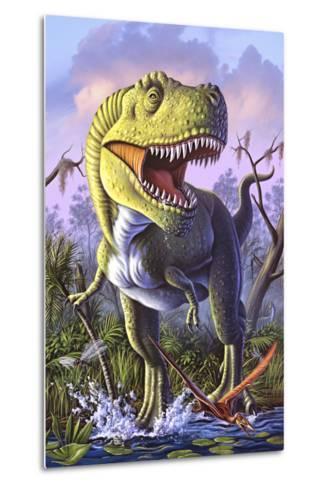 A Tyrannosaurus Rex Crashes Through a Swamp--Metal Print