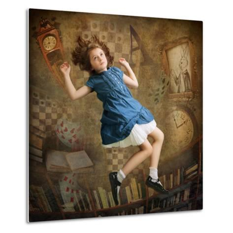 Alice falling down the Rabbit Hole-egal-Metal Print