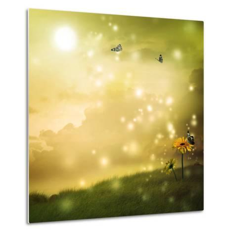 Yellow Gerberas with Butterflies in A Fantasy Hill-Melpomene-Metal Print